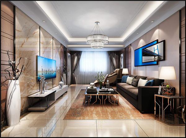 【岱宗汽配】现代风格三室两厅-泰安九创装饰效果图