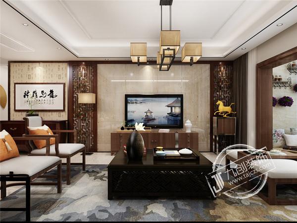 泰安九创装饰天外上璟小区158平米中式风格装修效果图
