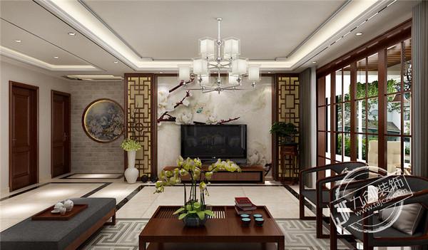 泰安九创装饰-泰建小高层160平米新中式效果图